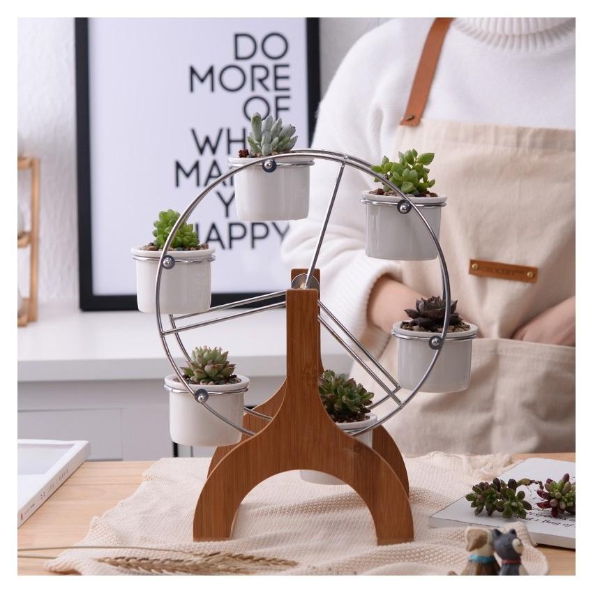 Ensemble grande roue et 6 pots en céramique - 1