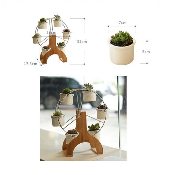 Ensemble grande roue et 6 pots en céramique - 2
