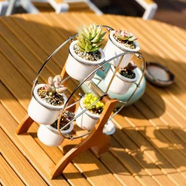 Ensemble grande roue et 6 pots en céramique - 6