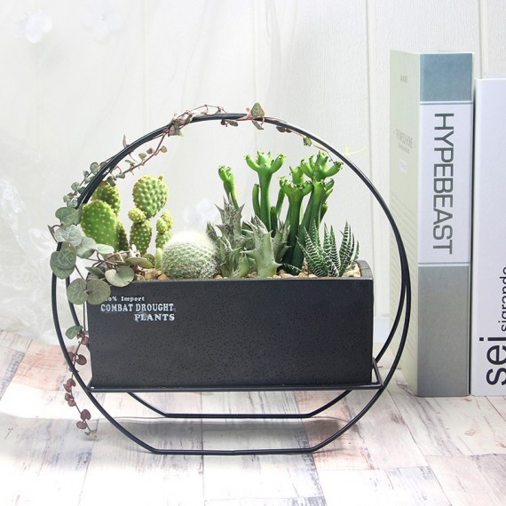 Beautiful anthracite cement pot - 1