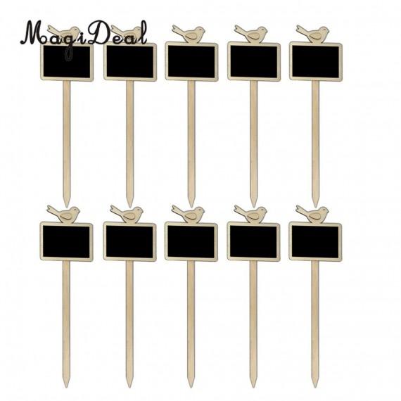 10 étiquettes en bois avec tableau noir - 1