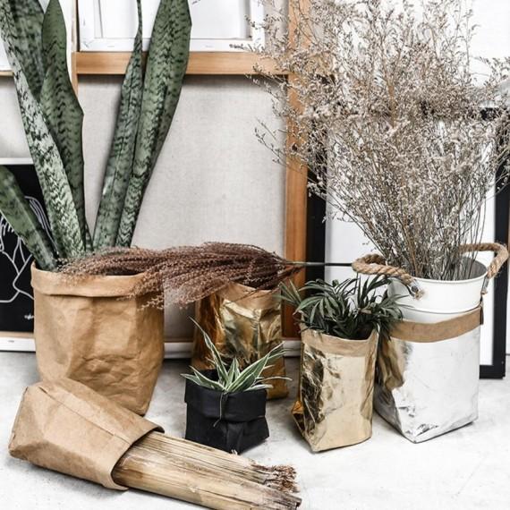 Washable paper bag plant pot - 7 colors - 1