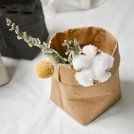 Cache-pot sac en papier lavable - 7 couleurs - 3
