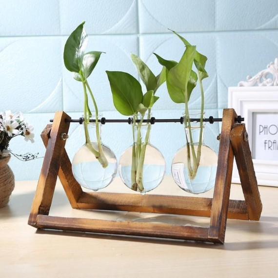 Test tube vase on its wooden support - 1