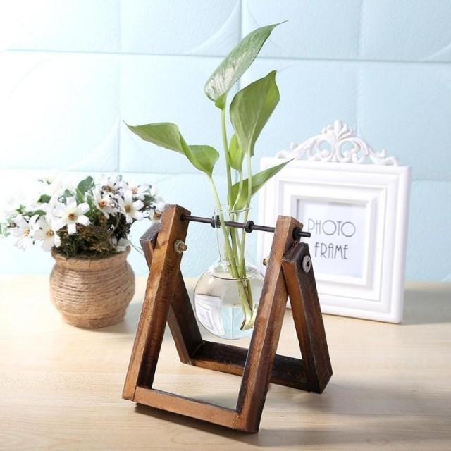 Vase éprouvette sur son support en bois - 1