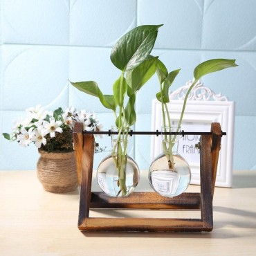 Vase éprouvette sur son support en bois - 3
