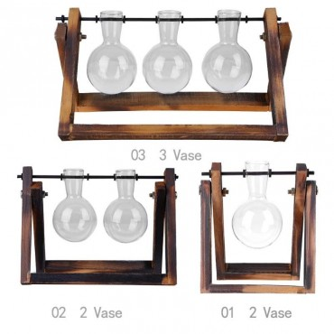 Test tube vase on its wooden support - 5