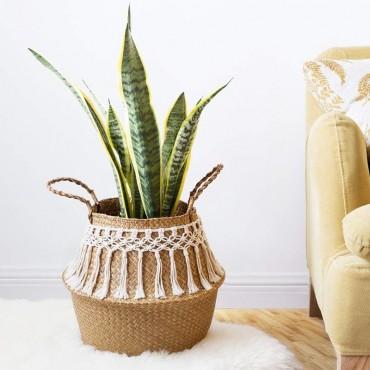 Wicker basket, cotton thread