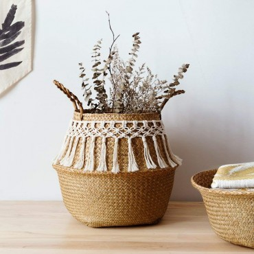 Rattan basket decorated with cotton thread - 2