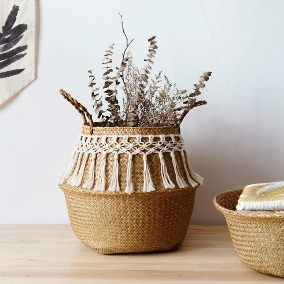 Panier en rotin orné de fil en coton - 2