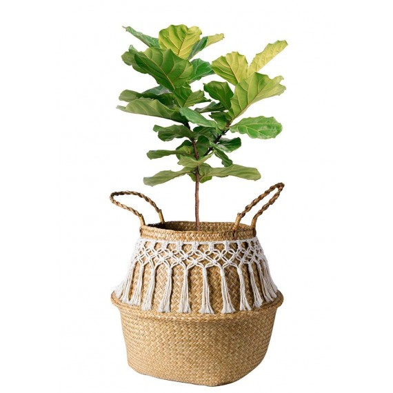 Rattan basket decorated with cotton thread - 3