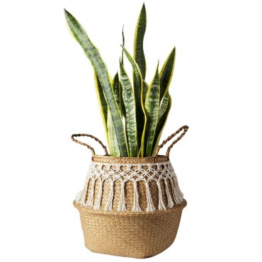 Rattan basket decorated with cotton thread - 4