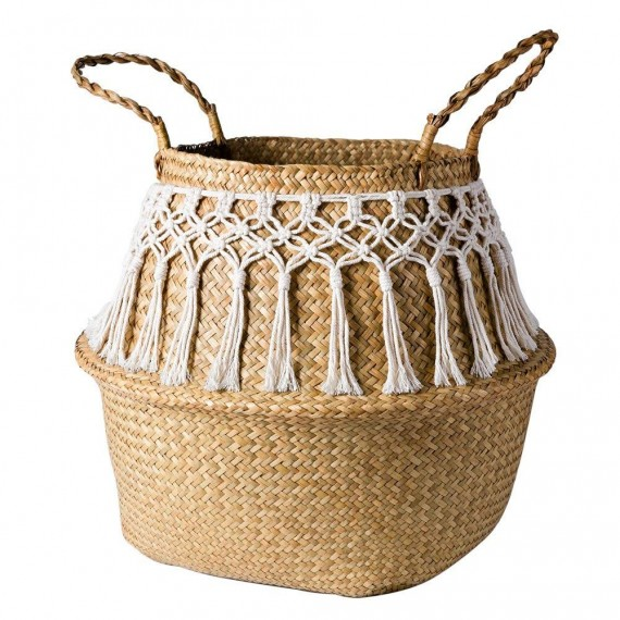 Rattan basket decorated with cotton thread - 5