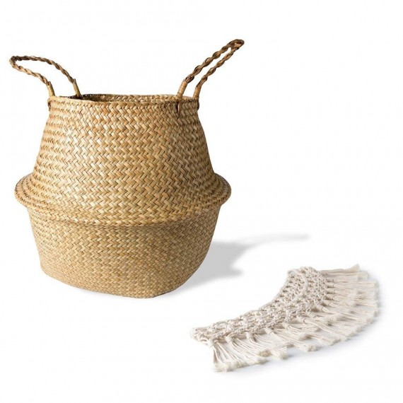 Rattan basket decorated with cotton thread - 6