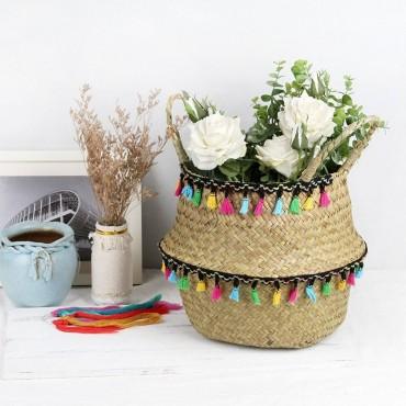 "Colored wicker ""Samba"" basket - 8"