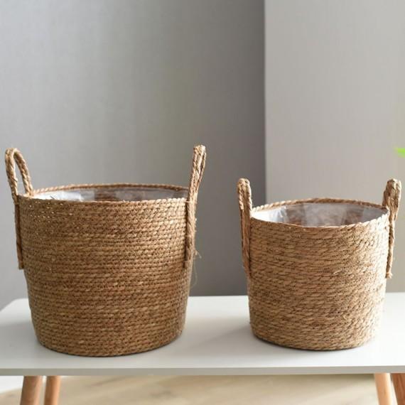 Nordique paille panier de rangement rotin plancher Pot de fleur artisanat dcoration moderne maison salon cham - 2