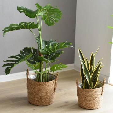 Nordique paille panier de rangement rotin plancher Pot de fleur artisanat dcoration moderne maison salon cham - 3