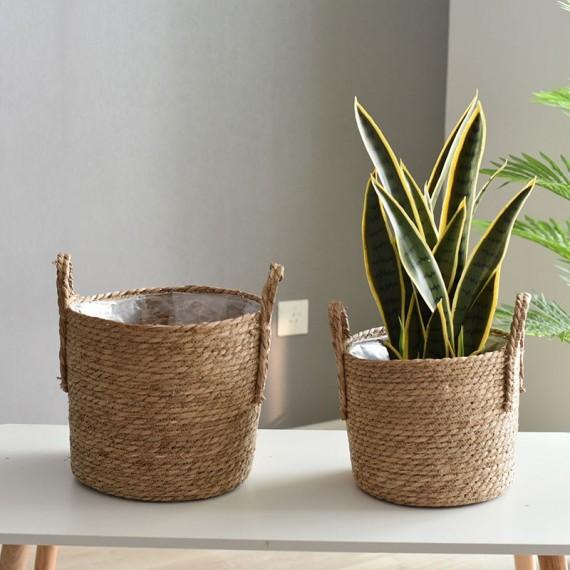 Nordique paille panier de rangement rotin plancher Pot de fleur artisanat dcoration moderne maison salon cham - 4