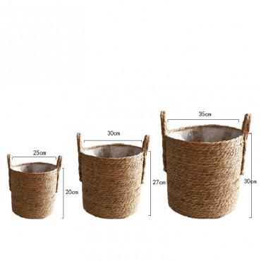 Nordique paille panier de rangement rotin plancher Pot de fleur artisanat dcoration moderne maison salon cham - 6