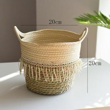 Nordique paille panier de rangement rotin plancher Pot de fleur artisanat dcoration moderne maison salon cham - 7