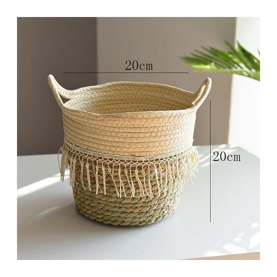 Nordique paille panier de rangement rotin plancher Pot de fleur artisanat dcoration moderne maison salon cham - 1
