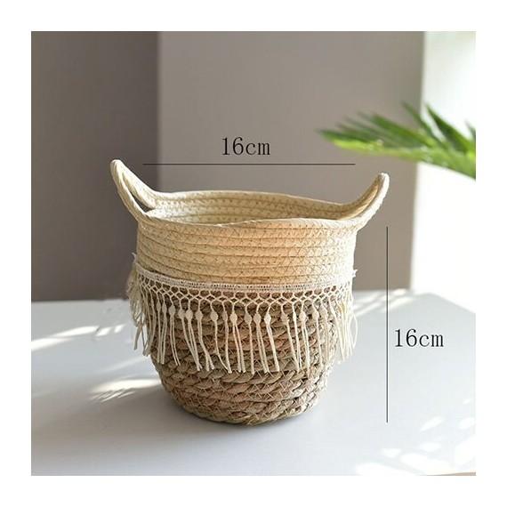 Nordique paille panier de rangement rotin plancher Pot de fleur artisanat dcoration moderne maison salon cham - 8