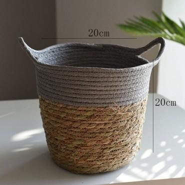 Nordique paille panier de rangement rotin plancher Pot de fleur artisanat dcoration moderne maison salon cham - 9