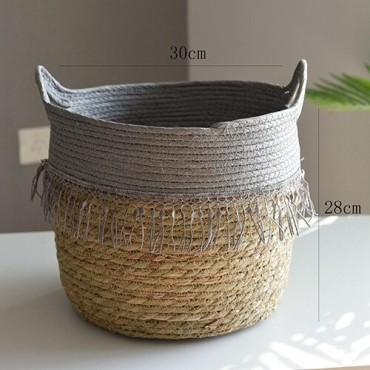 Nordique paille panier de rangement rotin plancher Pot de fleur artisanat dcoration moderne maison salon cham - 10