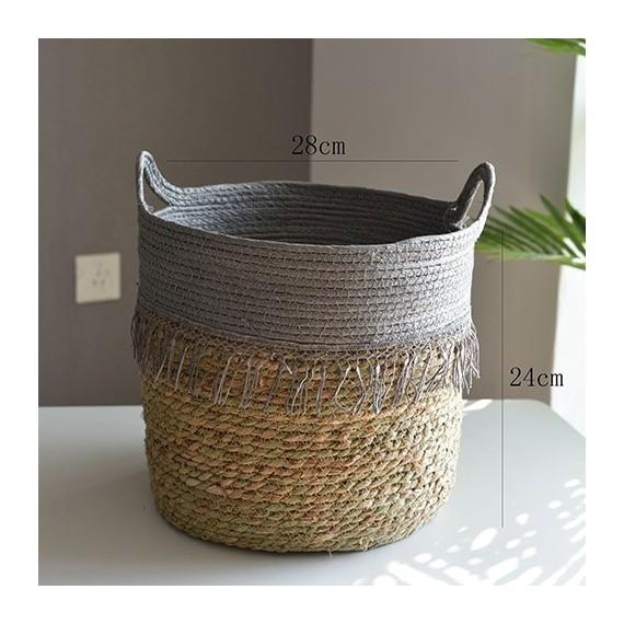 Nordique paille panier de rangement rotin plancher Pot de fleur artisanat dcoration moderne maison salon cham - 11