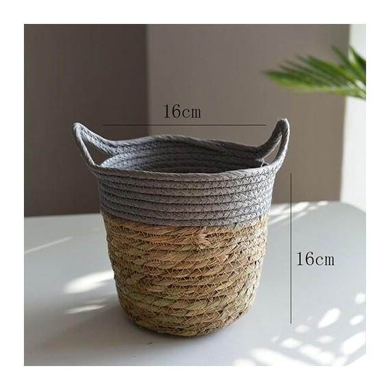Nordique paille panier de rangement rotin plancher Pot de fleur artisanat dcoration moderne maison salon cham - 12