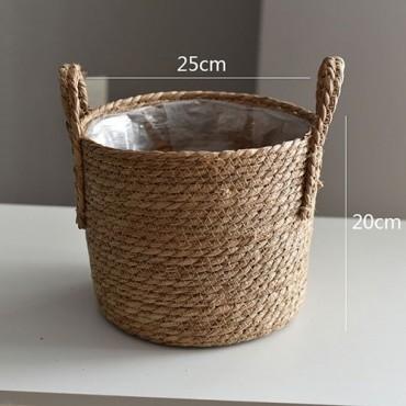 Nordique paille panier de rangement rotin plancher Pot de fleur artisanat dcoration moderne maison salon cham - 13