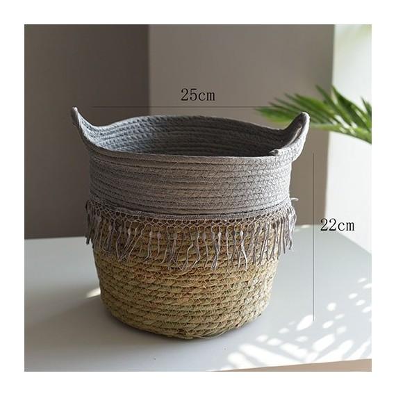 Nordique paille panier de rangement rotin plancher Pot de fleur artisanat dcoration moderne maison salon cham - 14