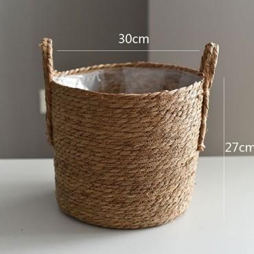 Nordique paille panier de rangement rotin plancher Pot de fleur artisanat dcoration moderne maison salon cham - 15