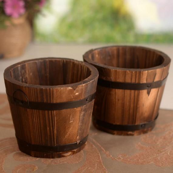 seau en bois pot ou cache pot. Black Bedroom Furniture Sets. Home Design Ideas