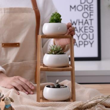 Les 3 pots en céramique et leur plateau en bois - 3