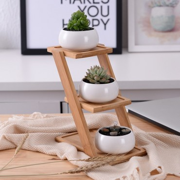 Les 3 pots en céramique et leur plateau en bois - 4