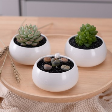 The 3 ceramic pots and their wooden tray - 5