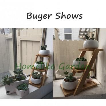 Les 3 pots en céramique et leur plateau en bois - 6