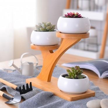 3 Scandinavian decorative pots and wooden base - 2
