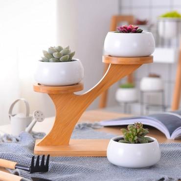 3 Scandinavian decorative pots and wooden base - 3