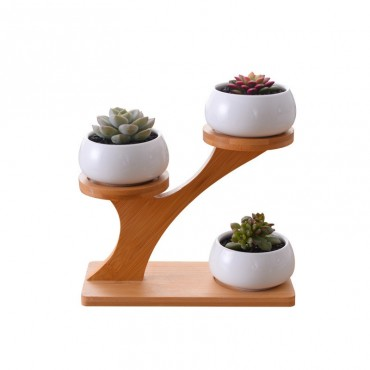 3 Scandinavian decorative pots and wooden base - 6
