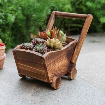 Jardinière en bois chariot ou petit train - 2