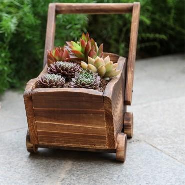 Jardinière en bois chariot ou petit train - 3