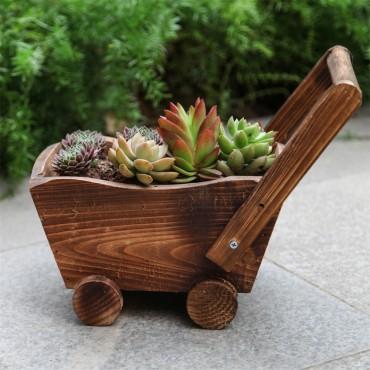 Jardinière en bois chariot ou petit train - 4