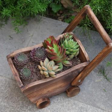 Jardinière en bois chariot ou petit train - 5