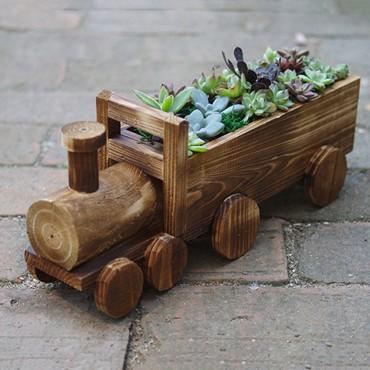 Jardinière en bois chariot ou petit train - 6