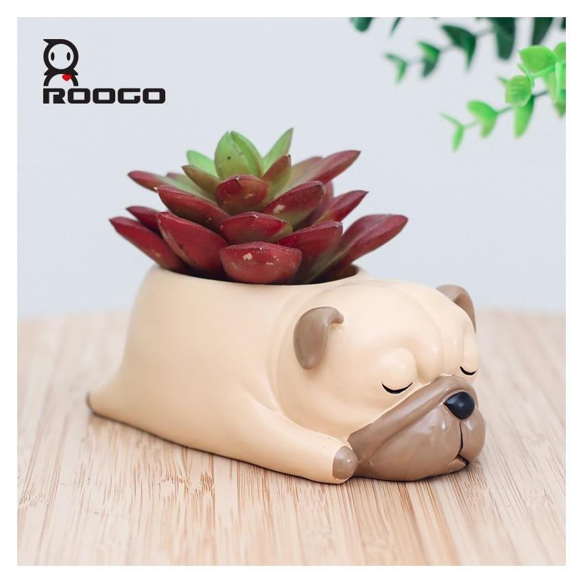 Pot de fleur chien qui dort - 1